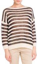 Saint Laurent Oversized Striped Boat-Neck Sweater, Black/White