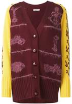 Miu Miu patterned sleeves chunky cardigan