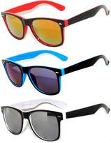 OWL 3 Pack Retro Style 80's Vintage Two -Tone Sunglasses Full Mirror Lens