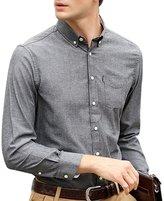 OCHENTA Men's Slim Fit Solid Button Down Oxford Dress Shirt DarkGrey Tag 3XL - US L