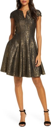 Julia Jordan Bonded Lace Fit & Flare Dress