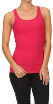 Bubble B Women's Juniors Solid Basic Ribbed Racer Back Tank Top