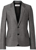 Saint Laurent Checked Slub Wool And Mohair-blend Blazer - Gray