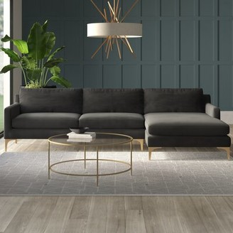 "Safavieh Skye Brayson 119"" Right Hand Facing Sectional Fabric: Velvet Dark Gray"