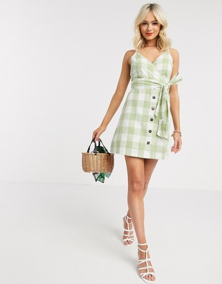 Gilli button down mini dress in green gingham