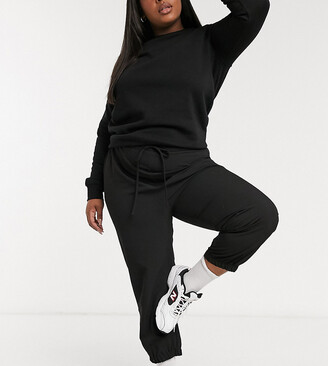 ASOS DESIGN Curve woven jogger in black