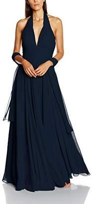 Mascara Women's Pleated Halter Gown Maxi Evening Sleeveless Dress,8 (Manufacturer Size: )
