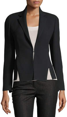 Akris Hook-Front Wool-Crepe Tailored Blazer