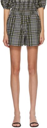 Ganni Green Seersucker Check Shorts