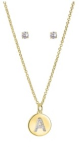 "Unwritten Gold Flash Plated Clear Cubic Zirconia Initial Coin Pendant and Earring Set, 16""+2"" Extender"