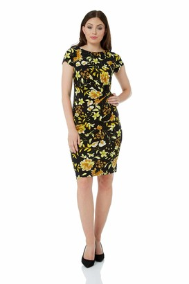 Roman Originals Women Floral Print Pleat Jersey Dress - Ladies Short Sleeve Knee Length Going Out Daytime Interview Work Office Cocktails Occasion Dresses - Yellow - Size 18