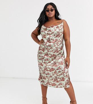 New Girl Order Curve midi slip dress in scenic print satin-Multi