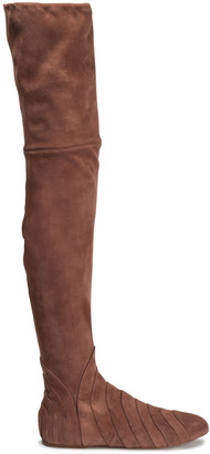 Alaia Pleated Suede Over-the-knee Boots