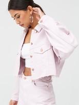 Missguided Cropped Oversized Raw Hem Denim Jacket Co-ord - Blush