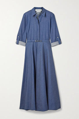 Gabriela Hearst Marley Belted Cotton-chambray Shirt Dress - Blue