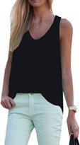 Pofachawis Women's Chiffon Sleeveless Solid Basic Tunic Tank Tops XXL