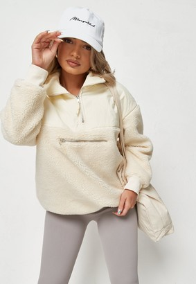 Missguided Cream Borg Teddy Mix Windbreaker Jacket