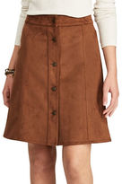 Chaps Petite Wales Faux Suede A-Line Skirt