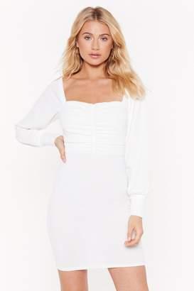 Nasty Gal Womens MS Square Neck Long Sleeve Mini Dress - white - 12