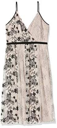 Little Mistress Women's Tabitha Mink Vintage Lace and Sequin Midi Dress Party, Brown 001, (Size:)