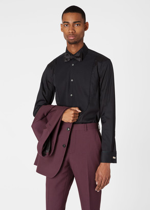 Paul Smith Men's Tailored-Fit Black Evening Shirt With 'Artist Stripe' Double Cuffs