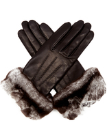 Agnelle Sonia rabbit-fur and leather gloves