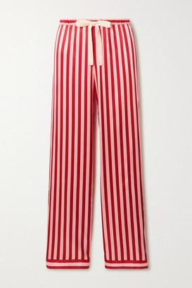 Morgan Lane Chantal Striped Satin Pajama Pants - Red