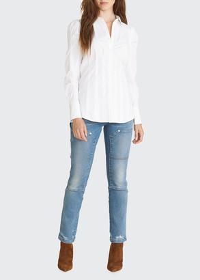 Veronica Beard Gilan Puff-Sleeve Button-Down Top