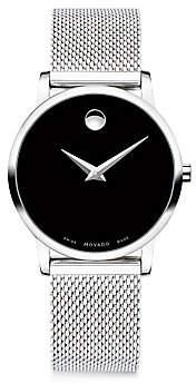 Movado Women's Museum Classic Black Dial, Stainless Steel Mesh Bracelet Watch