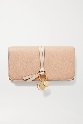 Chloé Alphabet Textured-leather Wallet - Blush