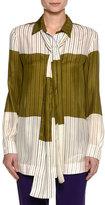 Piazza Sempione Striped Colorblock Silk Tie-Neck Shirt