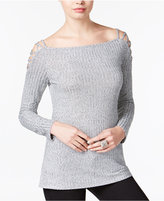 Bar III Ribbed Lattice-Detail Top, Only at Macy's