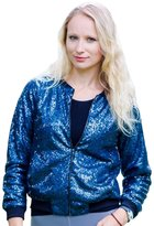 HaoDuoYi Womens Casual Long Sleeve Sequin Sport Jacket(XXL,)