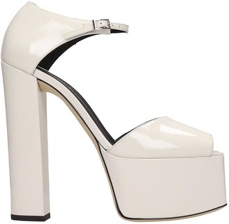Giuseppe Zanotti Bebe Touch Sandals In White Patent Leather