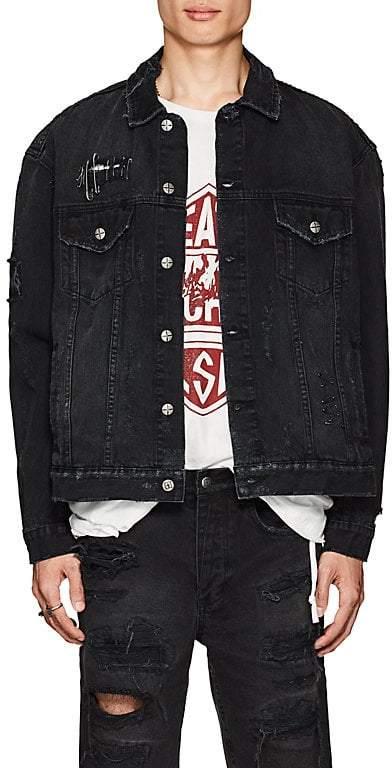 Ksubi Men's Oh G Distressed Denim Oversized Jacket