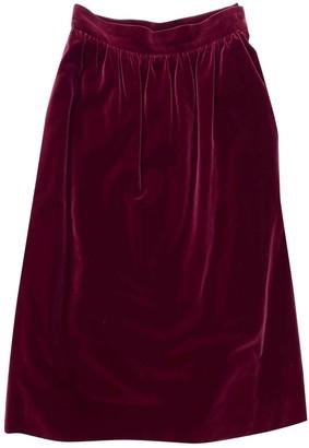 Saint Laurent Burgundy Velvet Skirt for Women Vintage