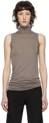 Rick Owens Lilies Grey Heavy Jersey Sleeveless Turtleneck Sweater