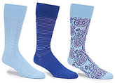 Roundtree & Yorke Gold Label Paisley Assorted Crew Dress Socks 3-Pack