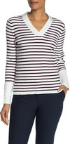 Tommy Hilfiger Striped Ribbed Knit V-Neck Sweater