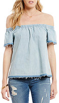 True Religion Off-the-Shoulder Short Sleeve Chambray Top