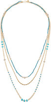Lydell NYC Worn Golden Triple-Strand Beaded Necklace, Blue