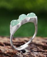 Lotus Fun Women's Rings Silver - Green Aventurine & Sterling Silver Three-Seed Adjustable Ring