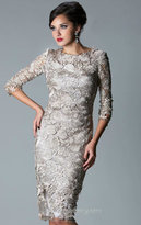 Janique - W041 Short Lace Dress in Pewter