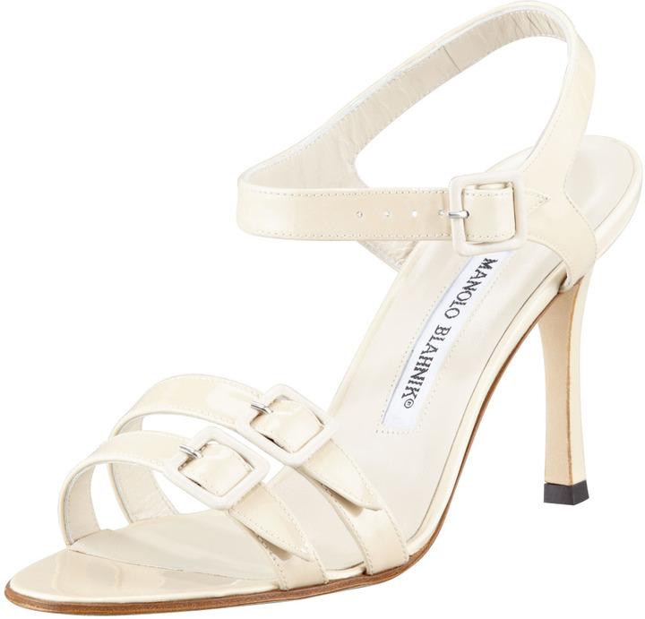 Manolo Blahnik Domanda Patent Buckled Mid-Heel Sandal, Ivory