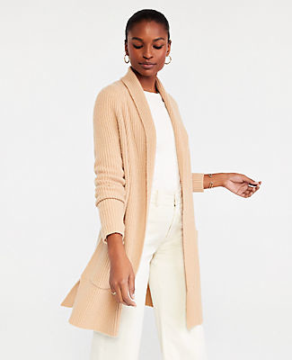 Ann Taylor Petite Ribbed Cashmere Open Cardigan