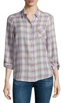 Joie Jerrie Button-Front Plaid Shirt, Dusty Mink