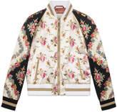 Gucci Rose print silk bomber jacket