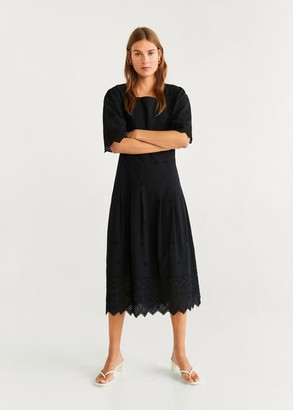 MANGO Openwork cotton dress black - 4 - Women