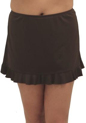 Fit 4 U Fit 4 Ur Hips Solid Swim Skirt with Flounce - Plus