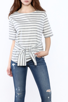 Naked Zebra Striped Waist Tie Top